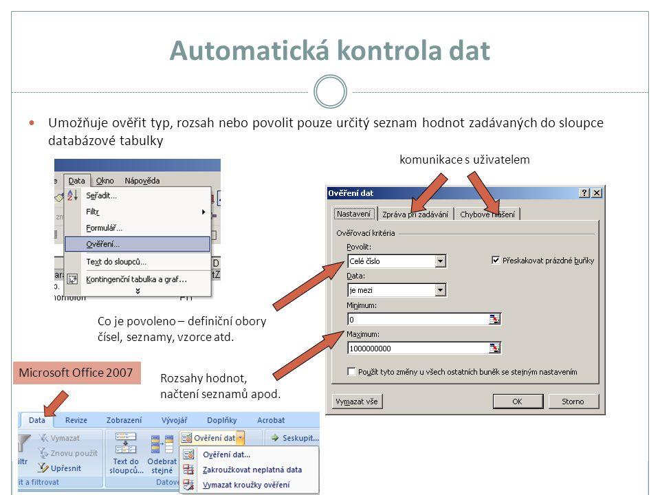 Automatická kontrola dat