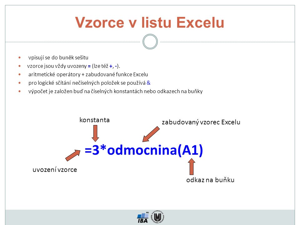 Vzorce v listu Excelu =3*odmocnina(A1) konstanta