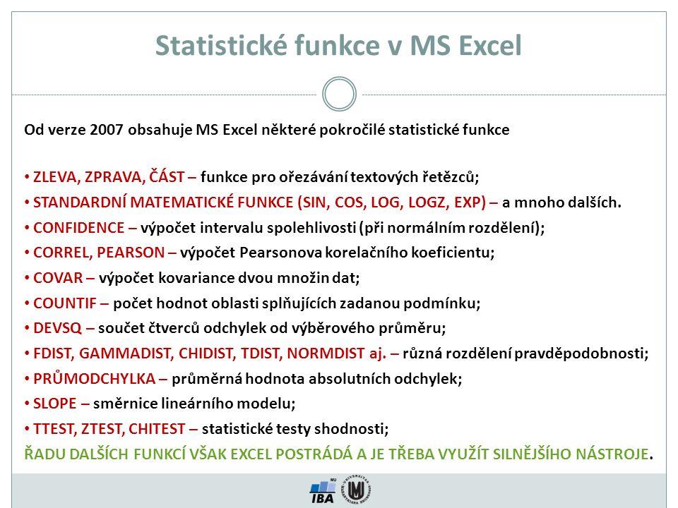 Statistické funkce v MS Excel