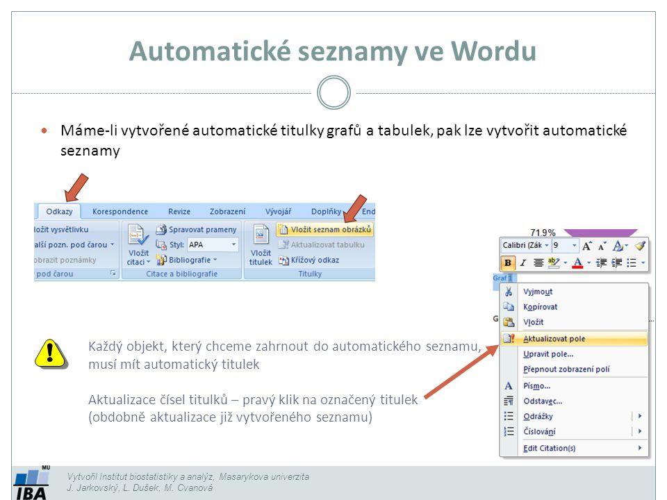 Automatické seznamy ve Wordu