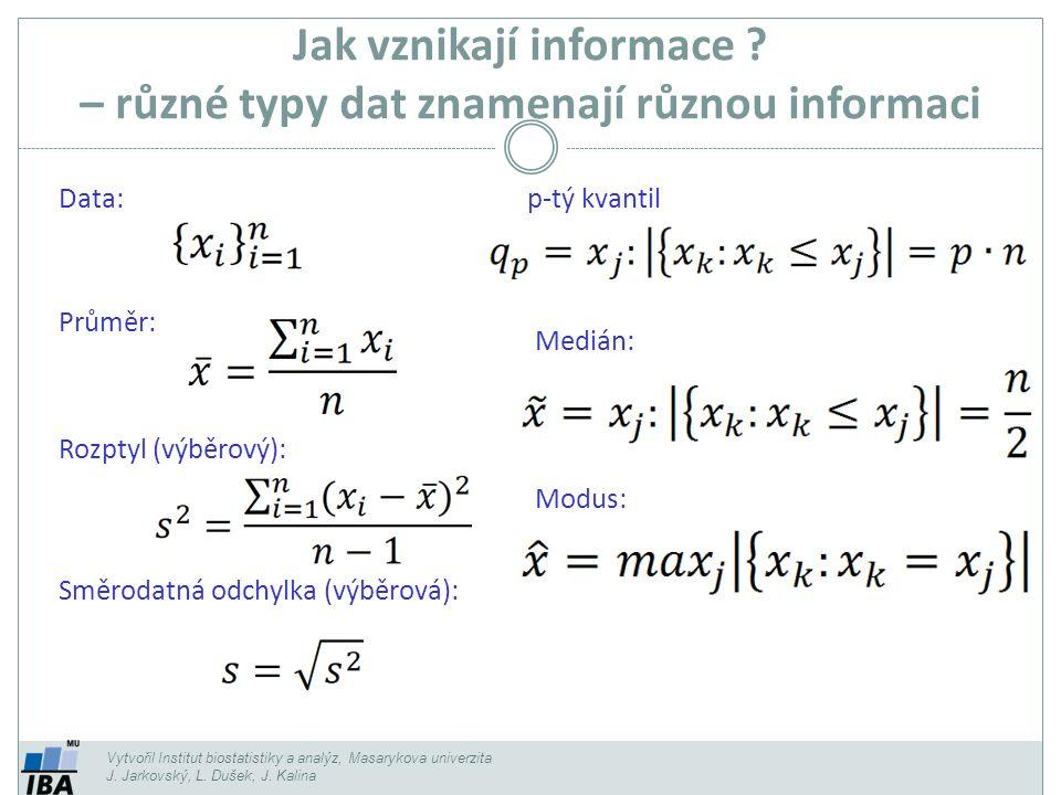 Jak vznikají informace – různé typy dat znamenají různou informaci