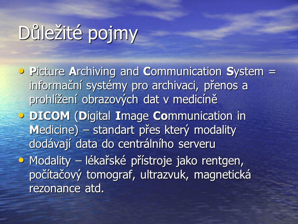 Důležité pojmy Picture Archiving and Communication System = informační systémy pro archivaci, přenos a prohlížení obrazových dat v medicíně.