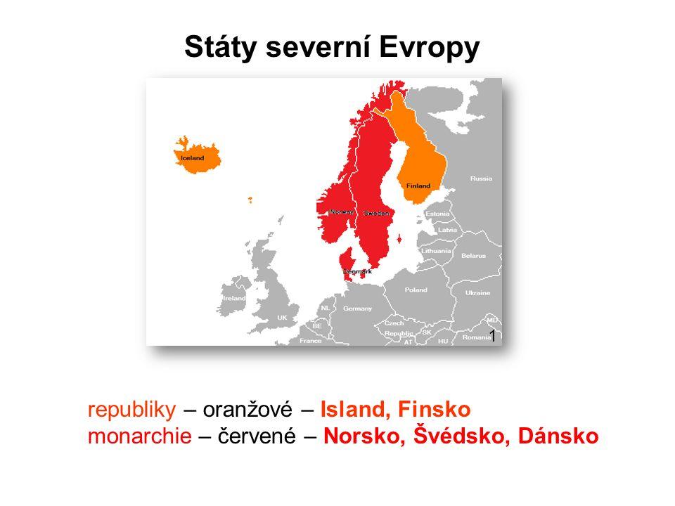 Státy severní Evropy republiky – oranžové – Island, Finsko
