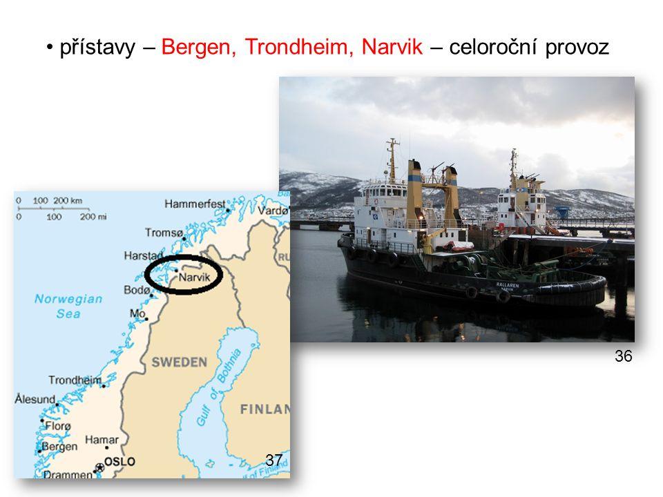 přístavy – Bergen, Trondheim, Narvik – celoroční provoz