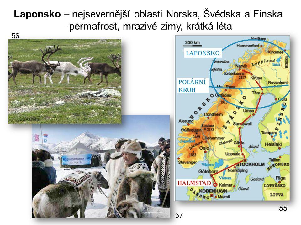 Laponsko – nejsevernější oblasti Norska, Švédska a Finska