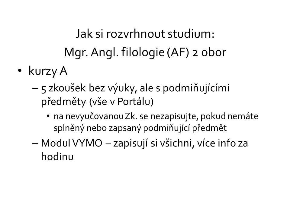Jak si rozvrhnout studium: Mgr. Angl. filologie (AF) 2 obor kurzy A