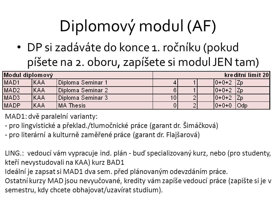 Diplomový modul (AF) DP si zadáváte do konce 1. ročníku (pokud píšete na 2. oboru, zapíšete si modul JEN tam)