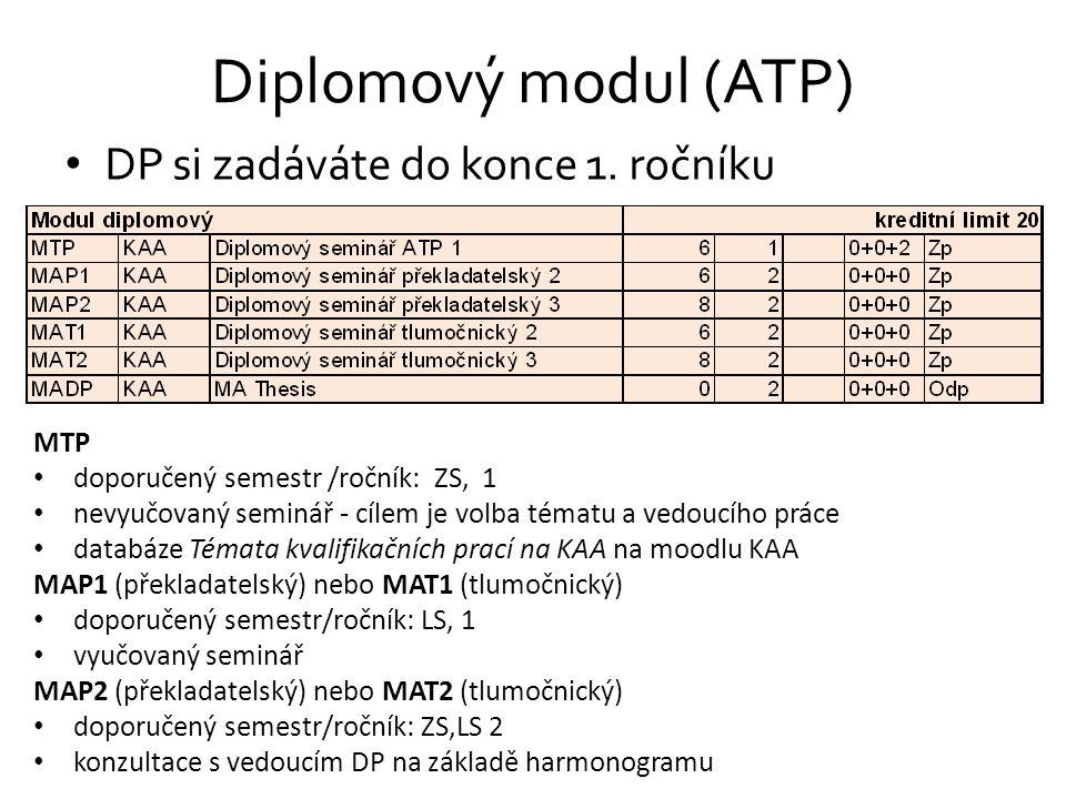 Diplomový modul (ATP) DP si zadáváte do konce 1. ročníku MTP