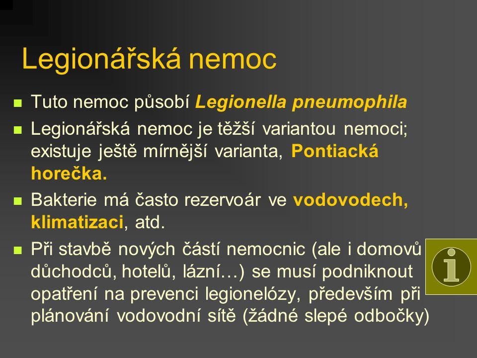 Legionářská nemoc Tuto nemoc působí Legionella pneumophila