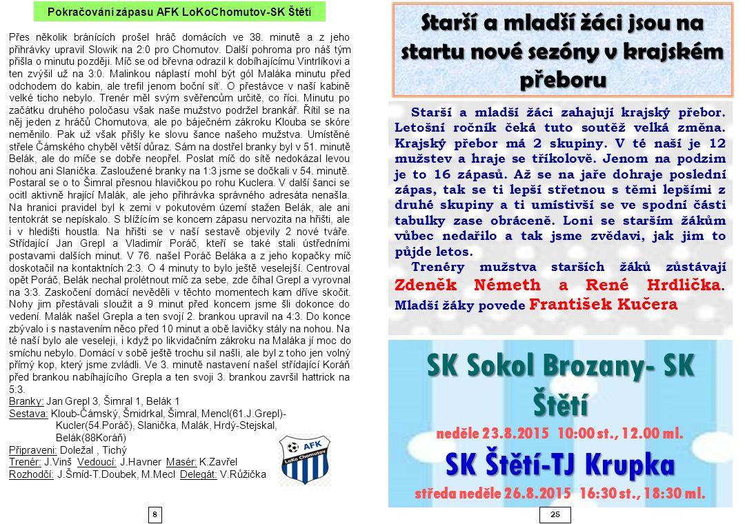 SK Sokol Brozany- SK Štětí