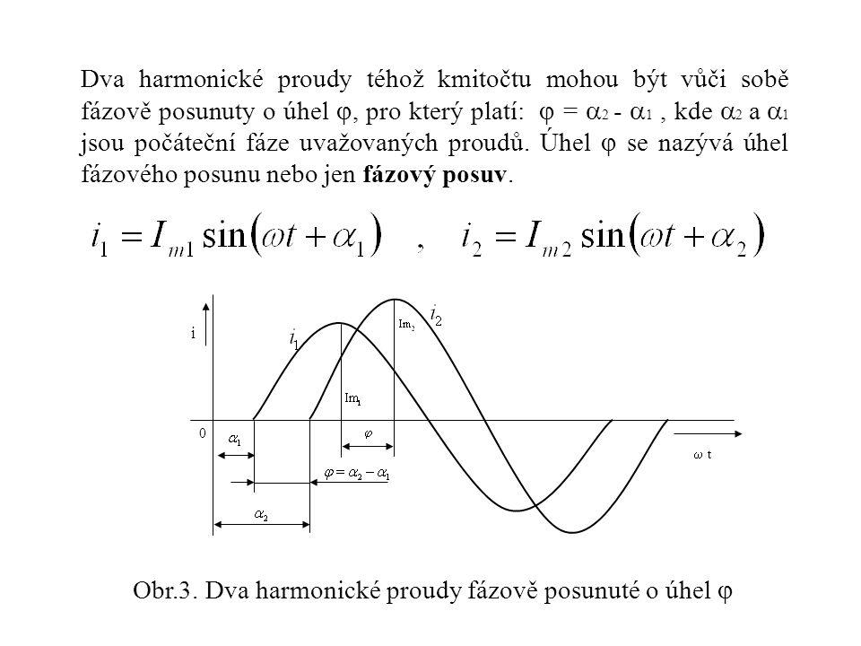 Obr.3. Dva harmonické proudy fázově posunuté o úhel 