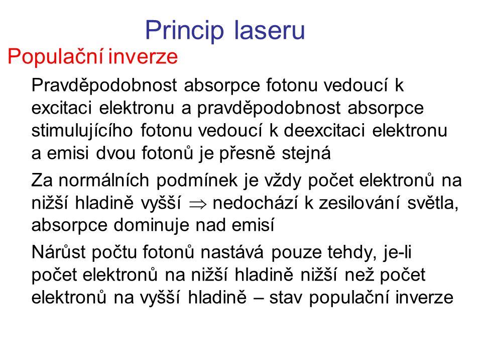 Princip laseru Populační inverze