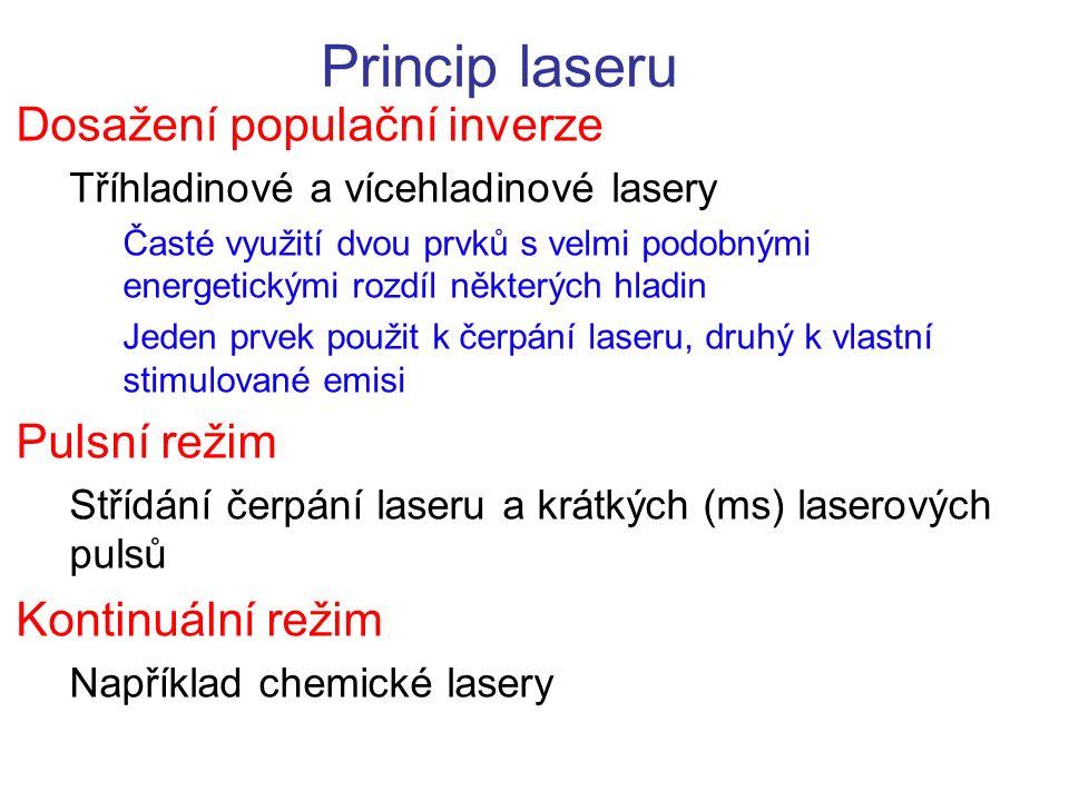 Princip laseru Dosažení populační inverze Pulsní režim
