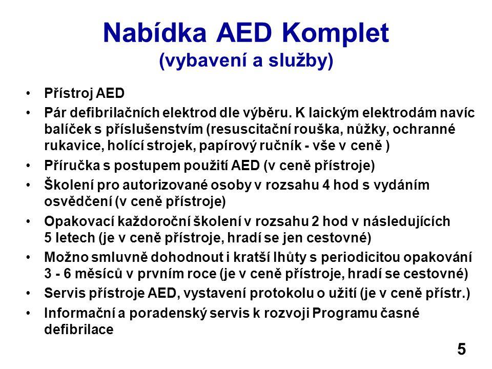 Nabídka AED Komplet (vybavení a služby)