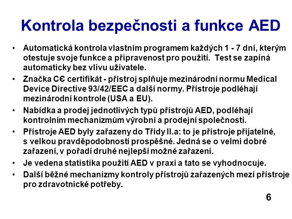 Kontrola bezpečnosti a funkce AED