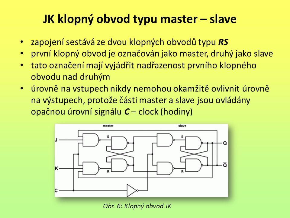 JK klopný obvod typu master – slave