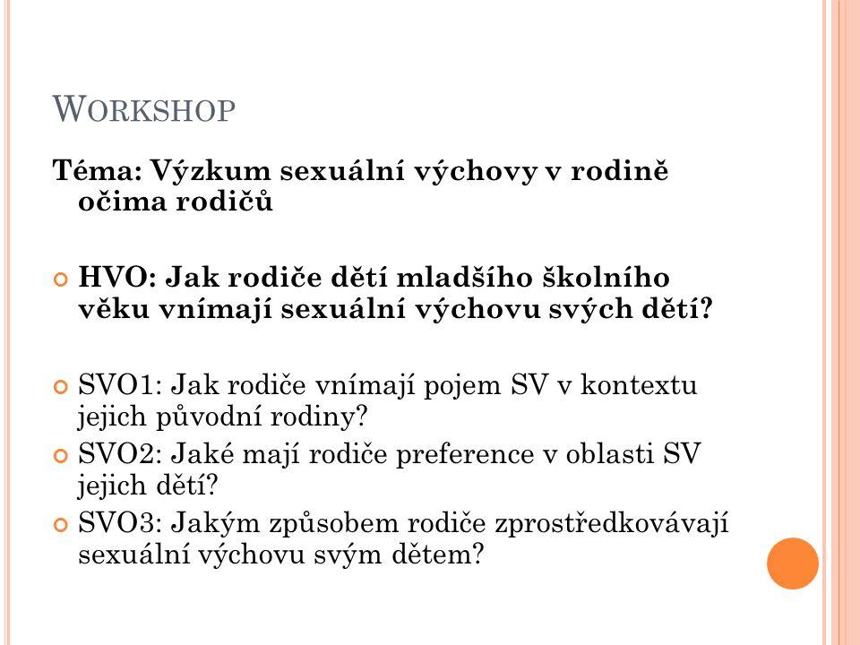 Workshop Téma: Výzkum sexuální výchovy v rodině očima rodičů