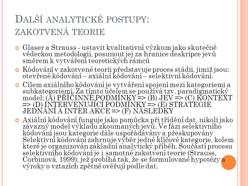 Další analytické postupy: zakotvená teorie