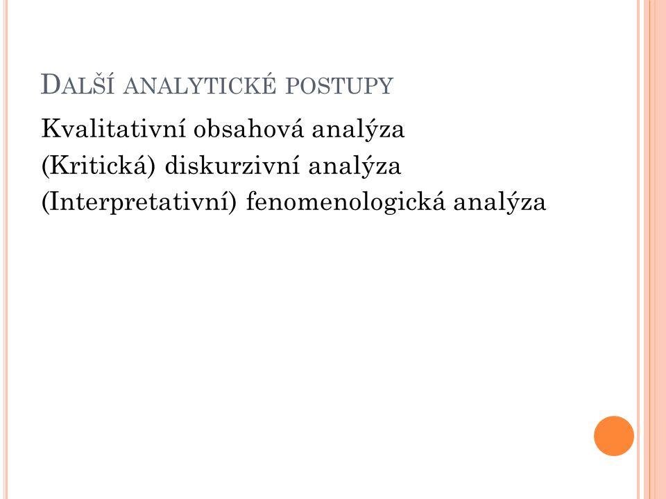 Další analytické postupy