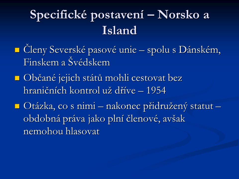 Specifické postavení – Norsko a Island