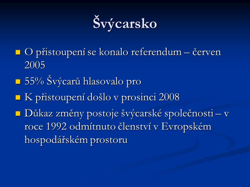 Švýcarsko O přistoupení se konalo referendum – červen 2005