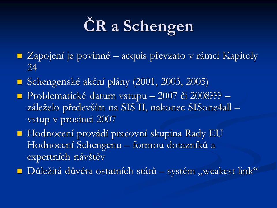 ČR a Schengen Zapojení je povinné – acquis převzato v rámci Kapitoly 24. Schengenské akční plány (2001, 2003, 2005)