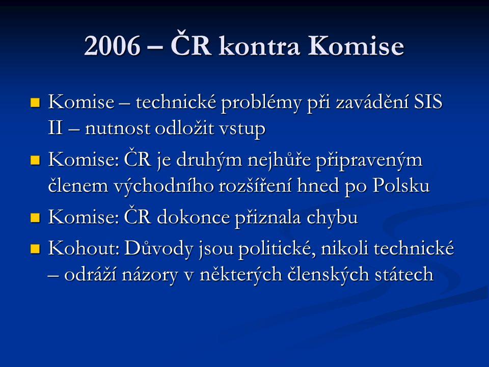 2006 – ČR kontra Komise Komise – technické problémy při zavádění SIS II – nutnost odložit vstup.