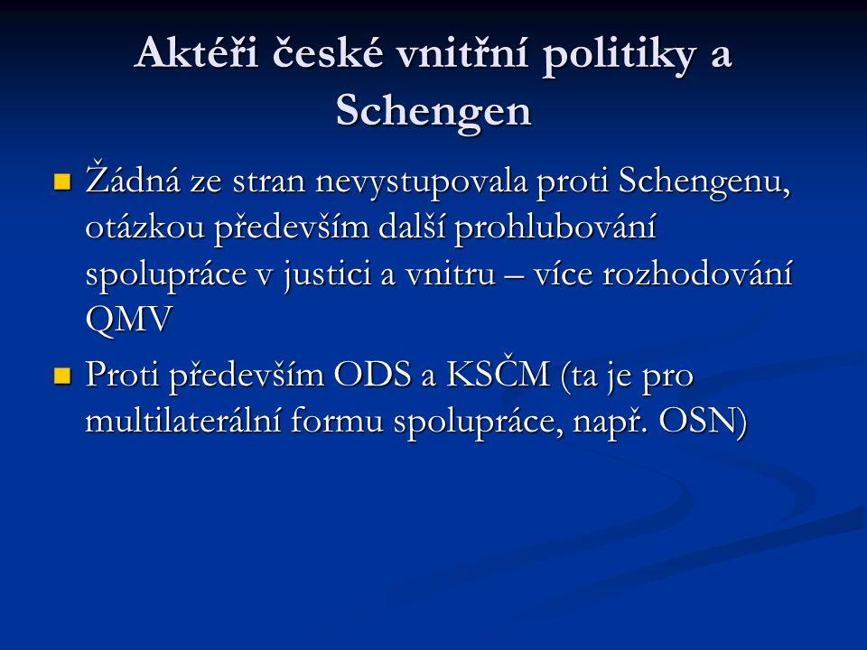 Aktéři české vnitřní politiky a Schengen