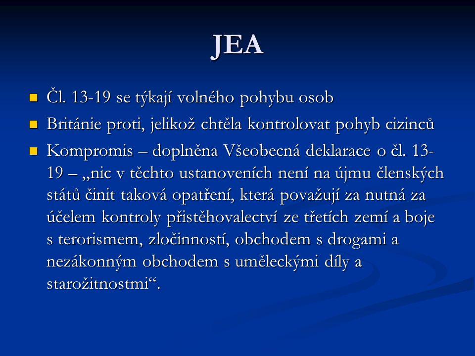 JEA Čl. 13-19 se týkají volného pohybu osob
