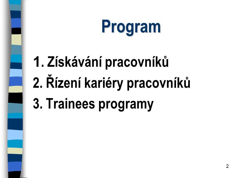 Program 1. Získávání pracovníků 2. Řízení kariéry pracovníků
