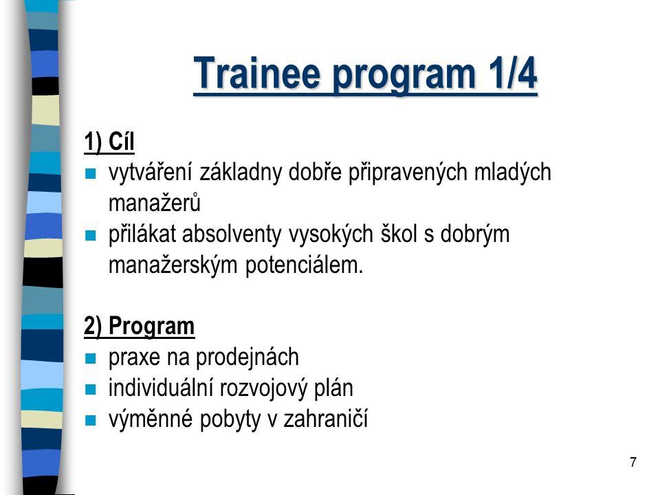 Trainee program 1/4 1) Cíl. vytváření základny dobře připravených mladých manažerů.