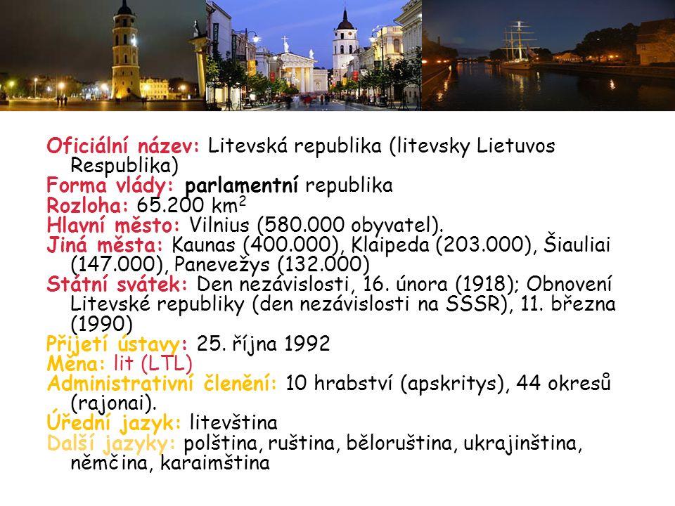 Oficiální název: Litevská republika (litevsky Lietuvos Respublika)
