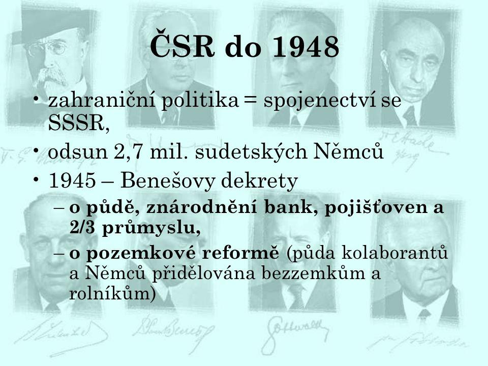 ČSR do 1948 zahraniční politika = spojenectví se SSSR,
