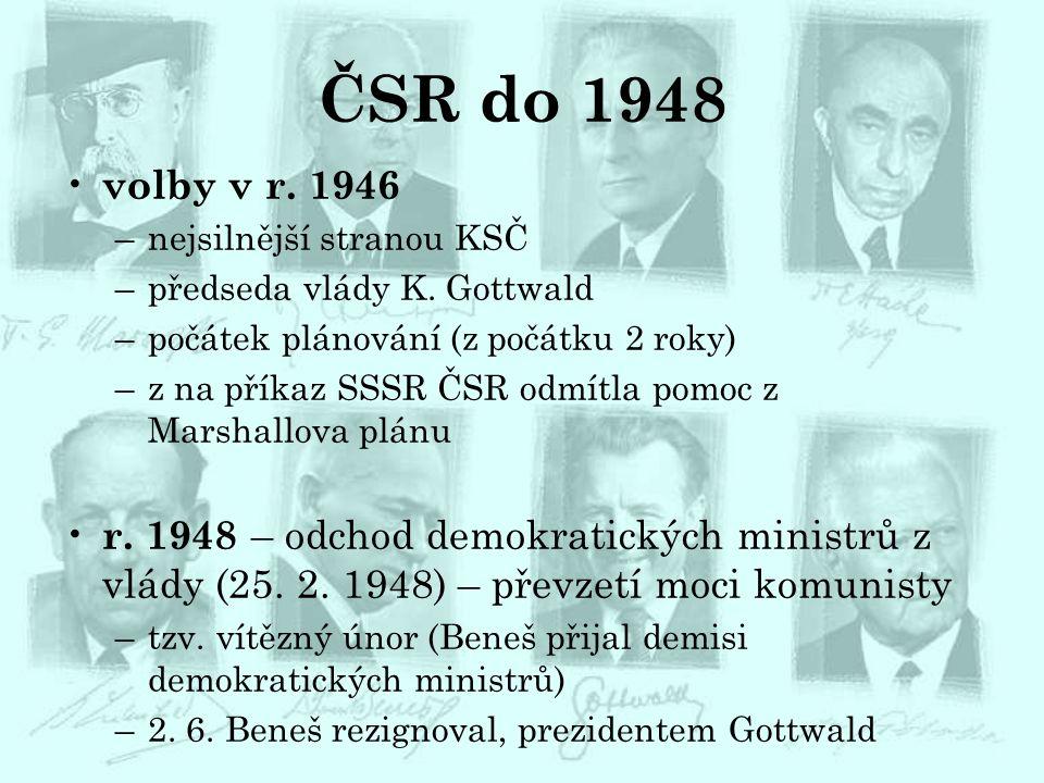 ČSR do 1948 volby v r. 1946. nejsilnější stranou KSČ. předseda vlády K. Gottwald. počátek plánování (z počátku 2 roky)