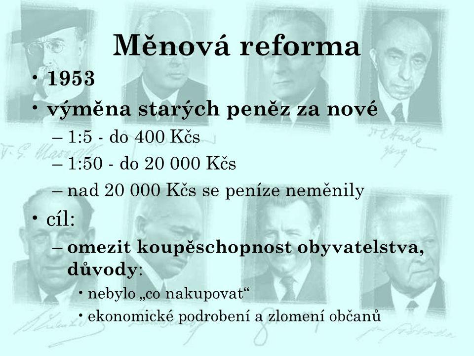 Měnová reforma 1953 výměna starých peněz za nové cíl: 1:5 - do 400 Kčs