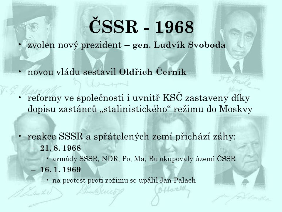 ČSSR - 1968 zvolen nový prezident – gen. Ludvík Svoboda