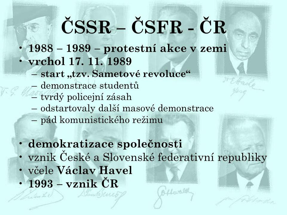 ČSSR – ČSFR - ČR 1988 – 1989 – protestní akce v zemi