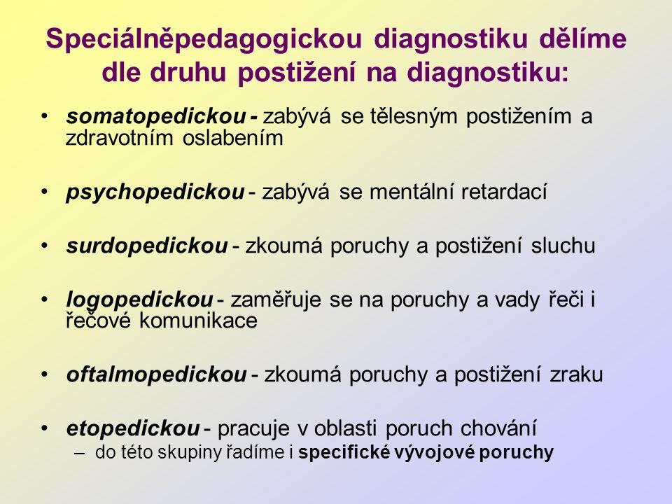 Speciálněpedagogickou diagnostiku dělíme dle druhu postižení na diagnostiku: