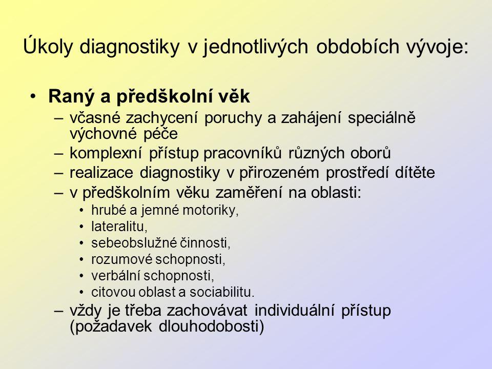 Úkoly diagnostiky v jednotlivých obdobích vývoje: