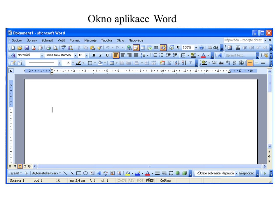 Okno aplikace Word