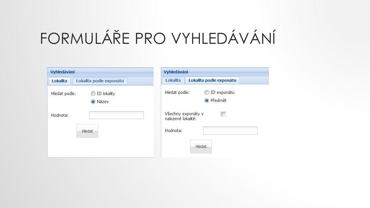Formuláře pro vyhledávání