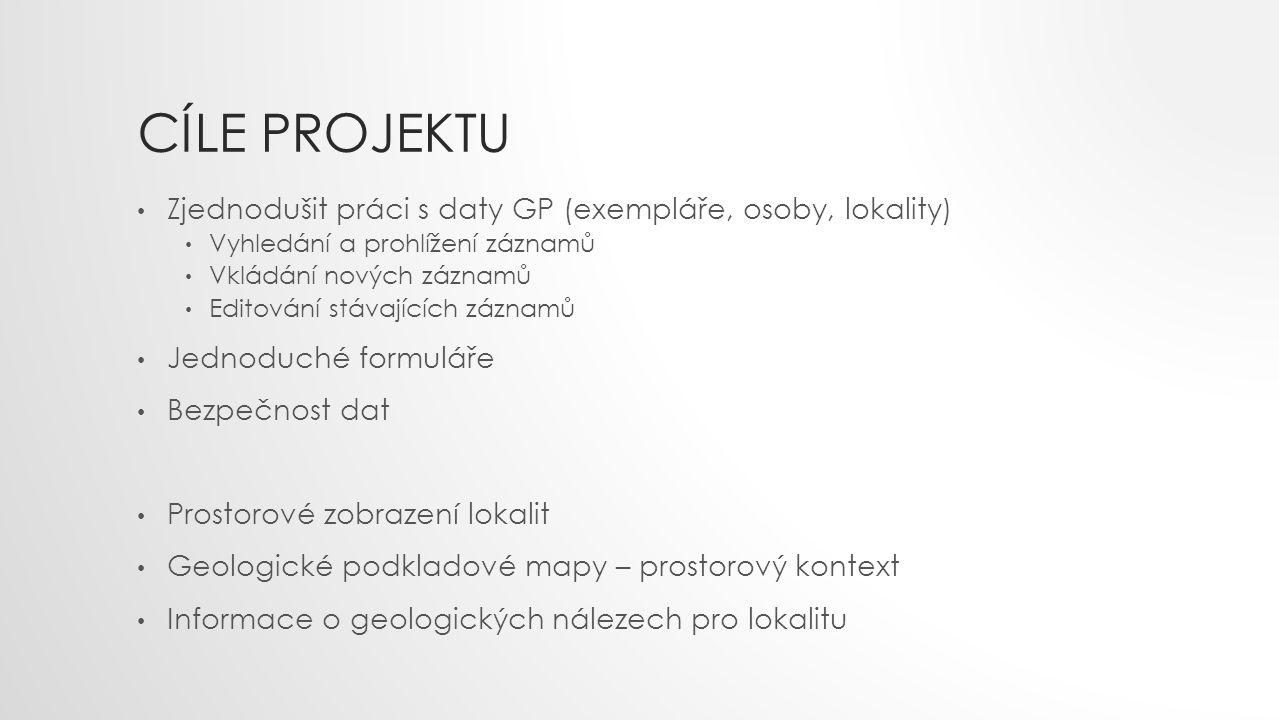 Cíle projektu Zjednodušit práci s daty GP (exempláře, osoby, lokality)