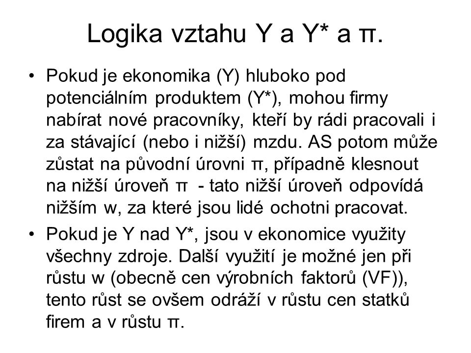 Logika vztahu Y a Y* a π.