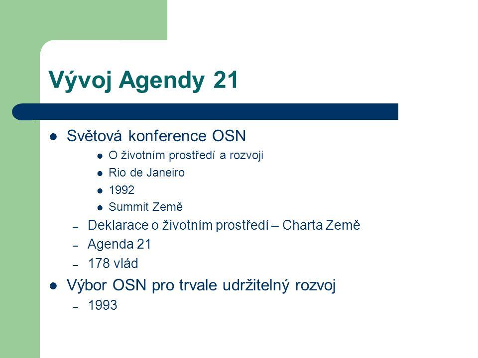 Vývoj Agendy 21 Světová konference OSN