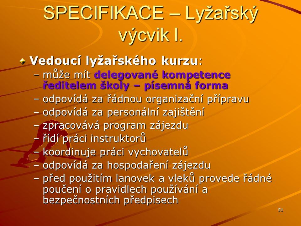 SPECIFIKACE – Lyžařský výcvik I.
