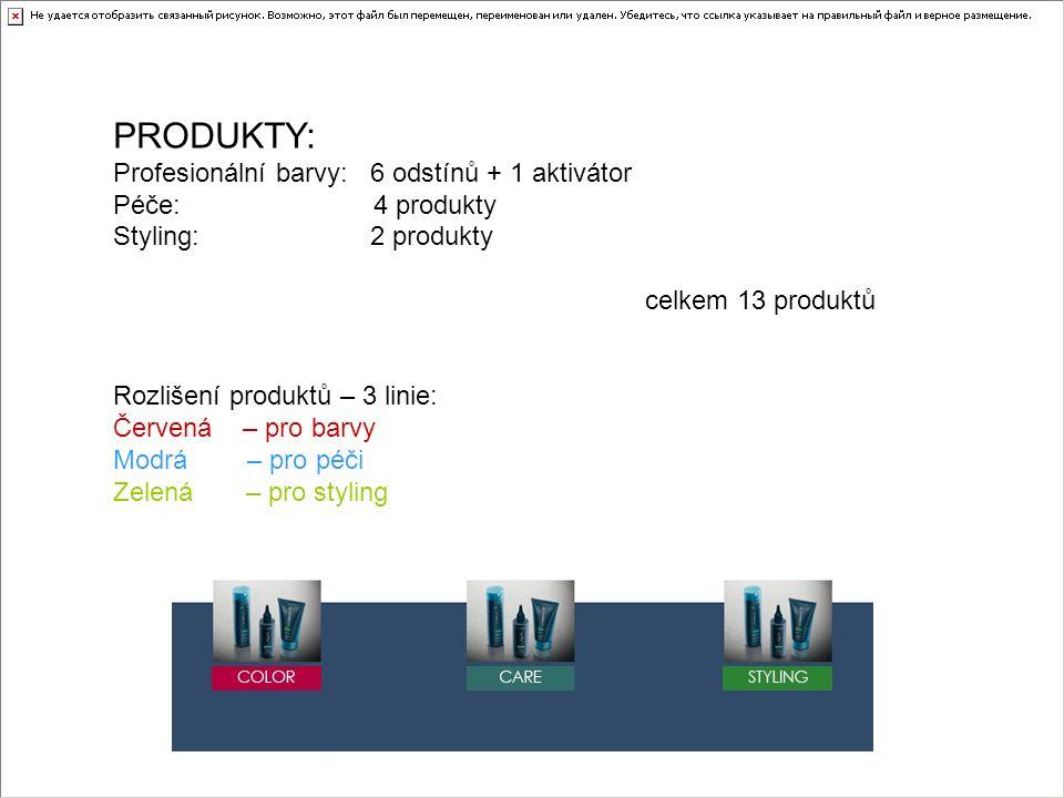 PRODUKTY: Profesionální barvy: 6 odstínů + 1 aktivátor