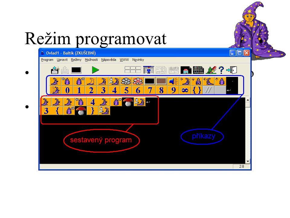 Režim programovat uživatel sestavuje posloupnost úkolů pro Baltíka