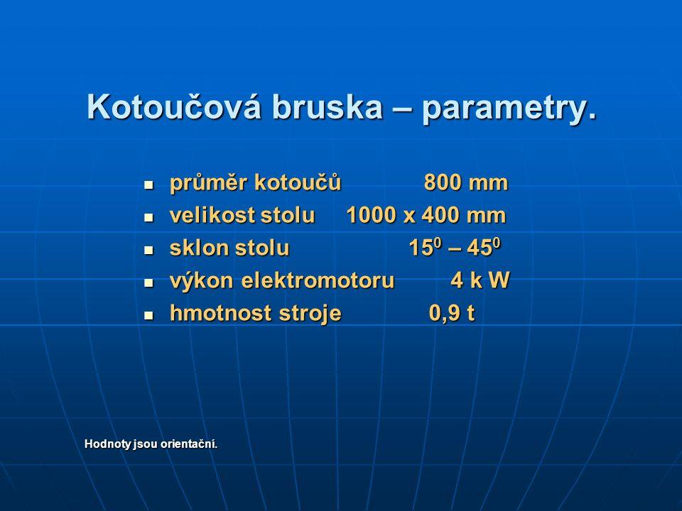 Kotoučová bruska – parametry.