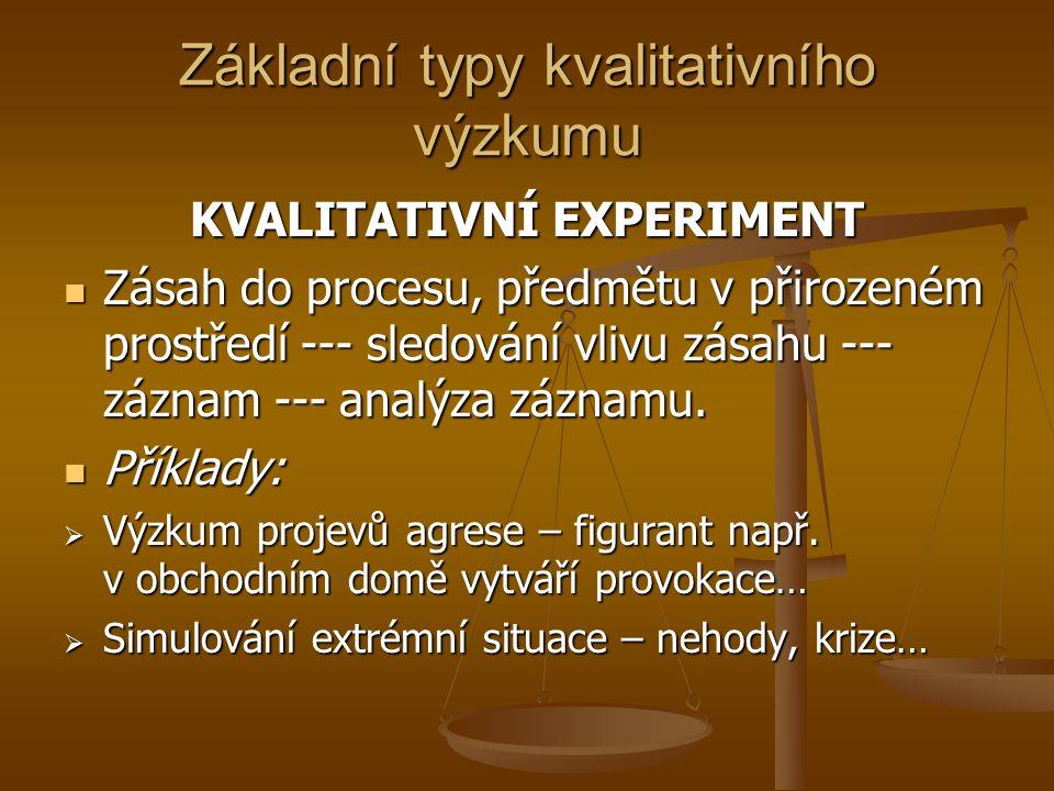 Základní typy kvalitativního výzkumu