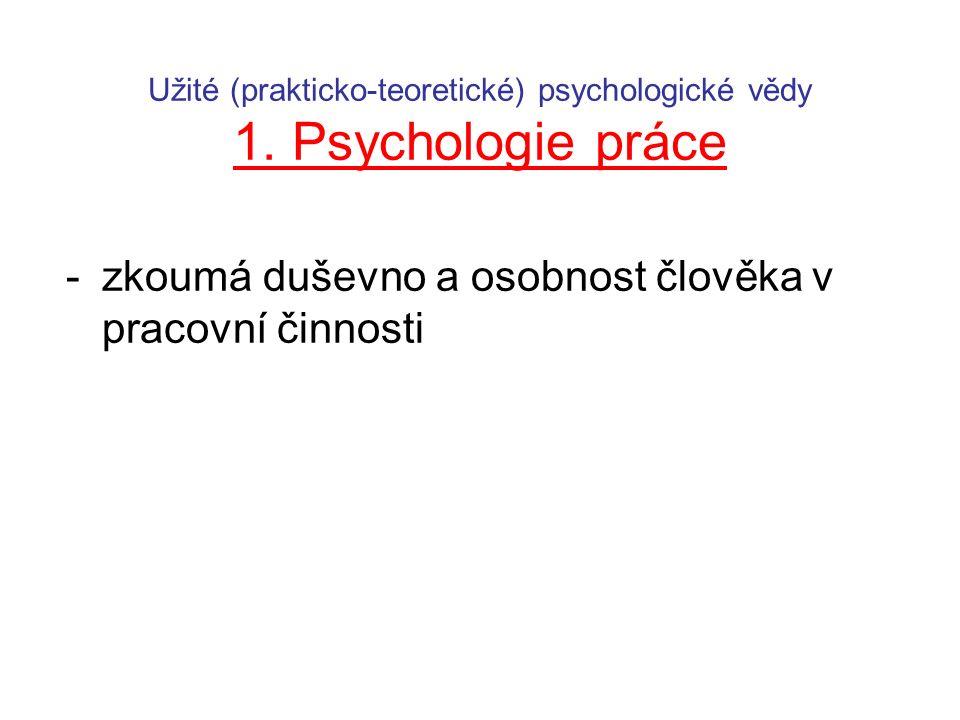 Užité (prakticko-teoretické) psychologické vědy 1. Psychologie práce